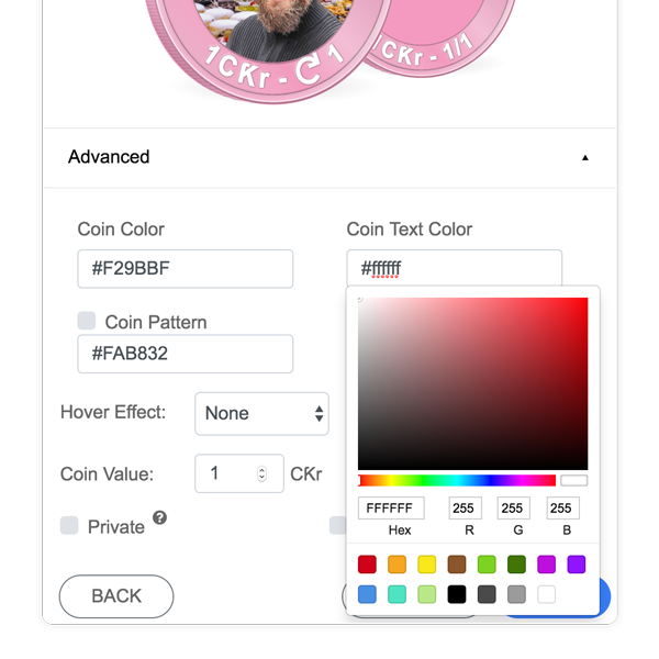 Choose a text color and add an optional texture