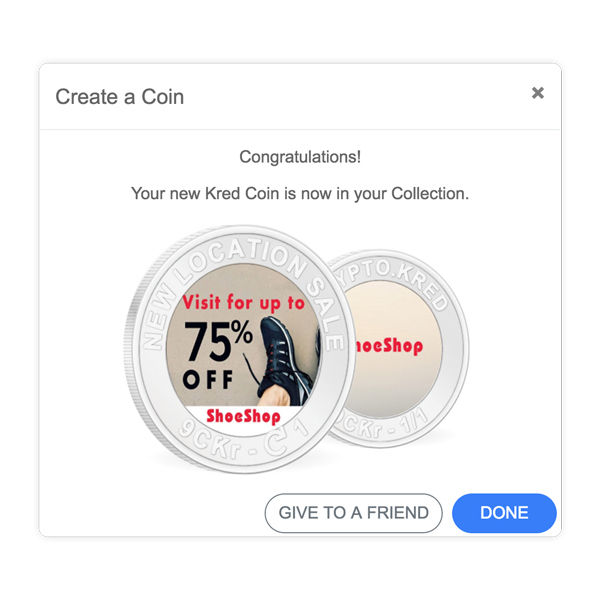 Create a Coin that shares the message or offer you want to promote