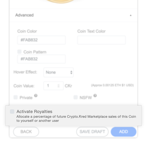 Check the box to activate Royalties on your Coin